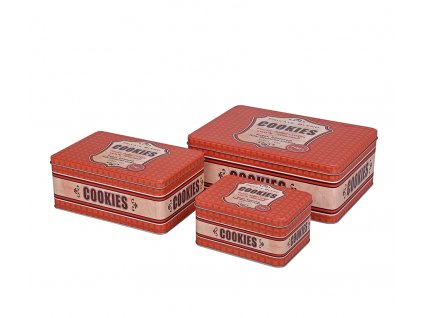 67248 - Sada 3 ks dóz na sušenky retro, červená - Zassenhaus