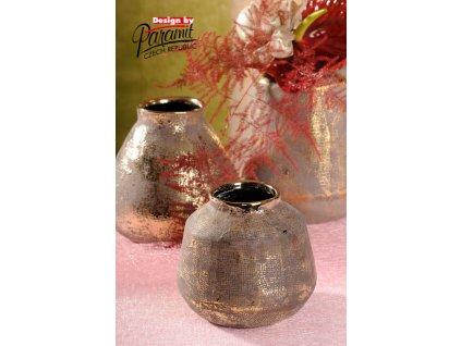 426 Vázy Ambra keramické se zlatou patinou