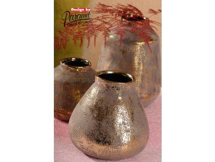 426 17 Váza Ambra 17 cm se zlatou patinou