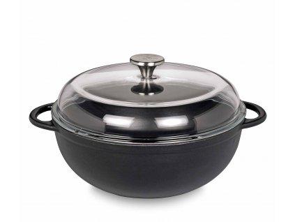 0402601028 - Litinový hrnec s poklicí MARMITE PROVENCE černý 28 cm - Küchenprofi
