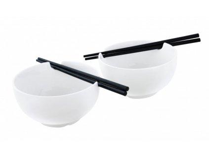 Porcelánový japonský set 2 misek a 2 hůlek PURE - bílá - by inspire