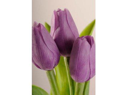 107P Francouzský umělý tulipán levandulový 40 cm