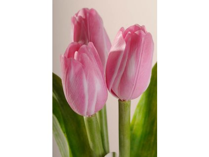 107P8 Francouzský umělý tulipán růžovo bílý 40 cm