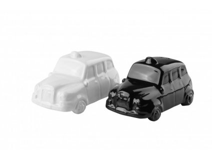 Porcelánová solnička & pepřenka Auta 9 x 4,5 cm bílá/černá - by inspire