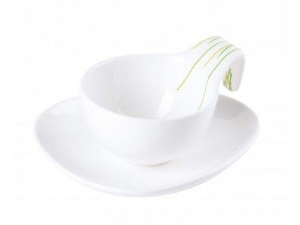Šálek s podšálkem 150 ml GRASS - bílá/zelená - by inspire