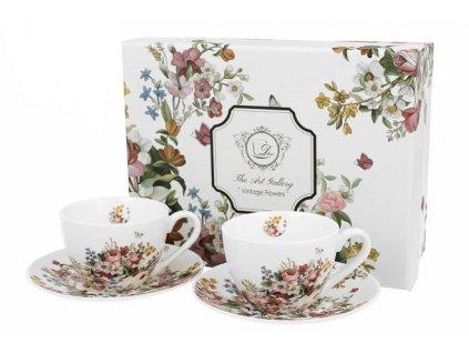 VINTAGE FLOWERS WHITE dárková souprava na espresso 80 ml 2 ks v krabičce