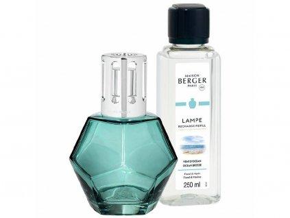 4715 Katalytická lampa GEOMETRY modrá a parfém Vůně oceánu 250 ml dárková sada