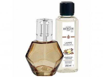 Katalytická lampa GEOMETRY medová a parfém Ambrový prach 250 ml dárková sada bez balení