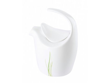 Porcelánová mléčenka 9 x 12 cm GRASS - bílá/zelená - by inspire