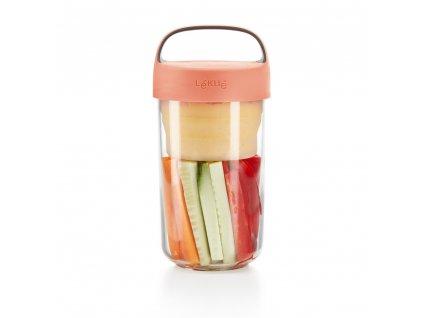 0301020Z07U150 Svačinový box Jar to GO 600 ml lososový od Lékue