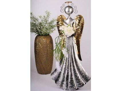 LÝDIE Kovový anděl 36 cm - s kalíškem na čajovou svíčku