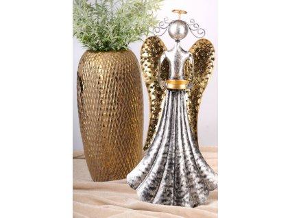 LÝDIE Kovový anděl 50 cm - s kalíškem na čajovou svíčku