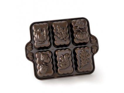 84448 Forma na mini bábovky Podzimní motiv 1250 ml 6 ks bronzová