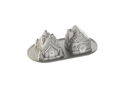 86748 Forma na bábovku Perníkové domky 1300 ml 2 ks stříbrná