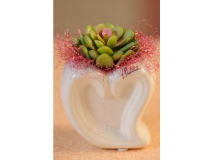 Heart bílá váza 15 cm