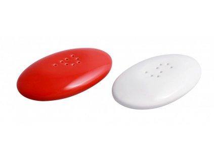 Solnička a pepřenka stone 4 x 5,5 cm červená/bílá - by inspire