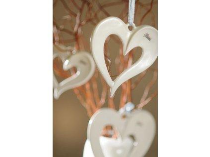 AMORE srdce bílé 16 cm