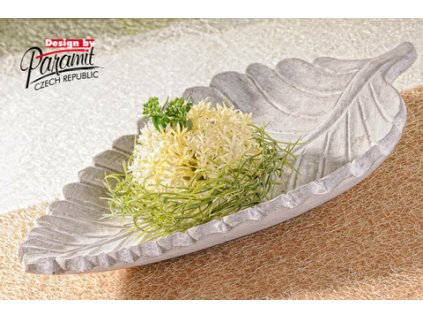 Kapradina list miska šedá 34 cm