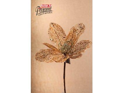 F89601 Dekorační květina Magnolie zlatá 40 cm