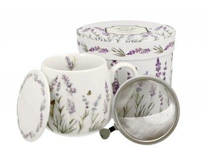 H202 Provence Hrnek baculka se sítkem a víčkem na čaj 430 ml od DUO