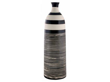 Váza 13,5 x 13,5 x 44 cm bílá/černá - by inspire