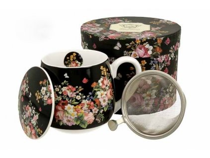 H207 WINTAGE FLOWER BLACK Hrnek baculka se sítkem a víčkem na čaj 430 ml od DUO