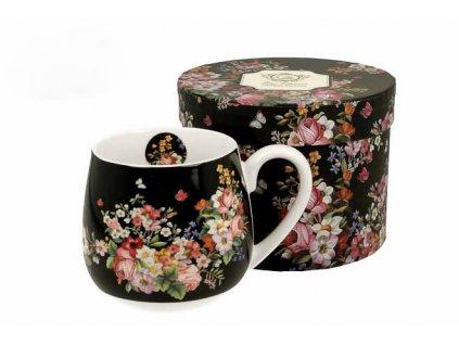 H196 WINTAGE FLOWER BLACK Hrnek baculka na čaj 430 ml od DUO