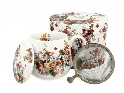 H208 WINTAGE FLOWER WHITE Hrnek baculka se sítkem a víčkem na čaj 430 ml od DUO