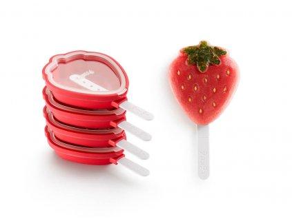 3400265S01U150 Strawberry popsicles tvořítka na zmrzlinu jahoda 4 ks