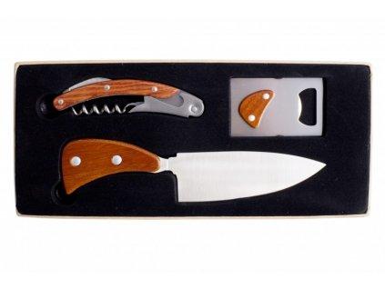 Třídílná souprava s nožem, otvírákem na láhve a barmanskou vývrtkou vykládaná dřevem - by inspire