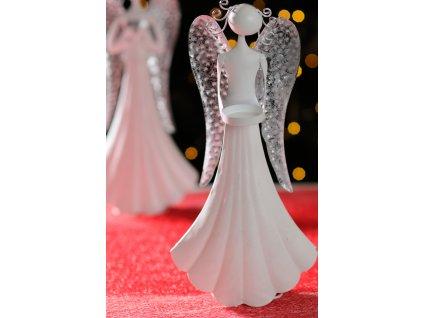 TAMARA Kovový anděl 36 cm na svíčku