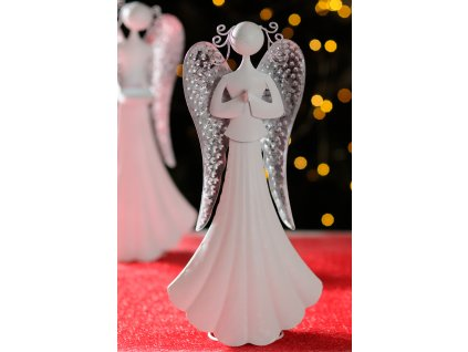 TAMARA Kovový anděl 36 cm modlící se