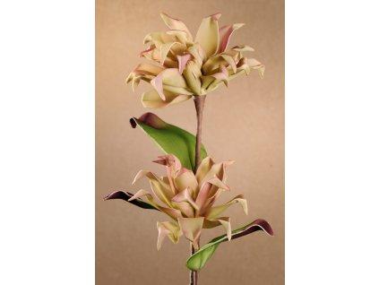 Dekorační květina zeleno-fialová 78 cm