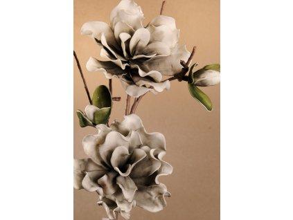 Dekorační květina s dvěma květy šedá 85 cm