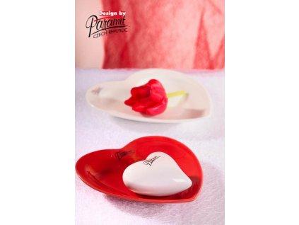 Srdce talíř červená 13 cm