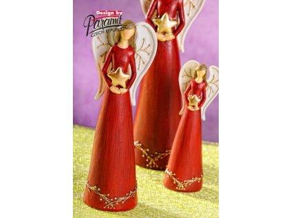 Anděl s hvězdičkou červený 20 cm  - Paramit - 4113-20R