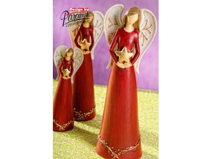 Anděl s hvězdičkou červený 26 cm