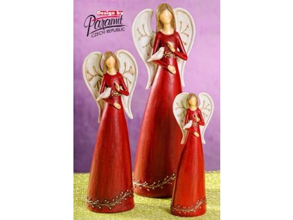 Anděl s ptáčkem červený 26 cm