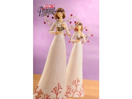 Anděl se svíčkou bílý 25 cm