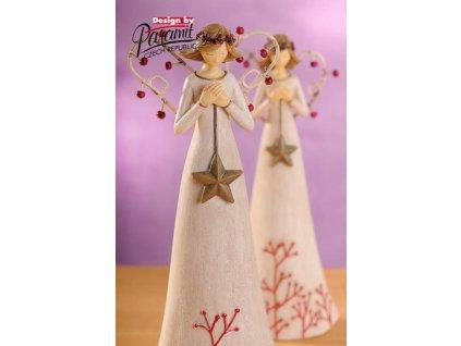 Anděl s hvězdičkou bílý 25 cm  - Paramit - 4121-25W