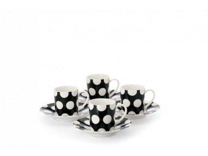 Porcelánový set 4 šálků černý s podšálkem na Espresso 100 ml  - Polkadot  - Maxwell&Williams