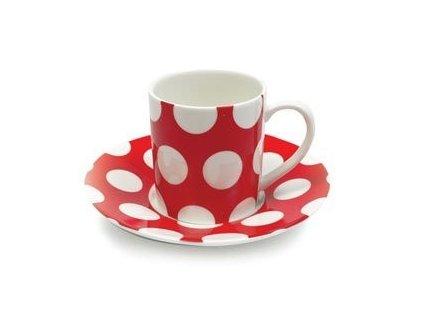 Šálek  červený s podšálkem na Espresso 100 ml  - Polkadot PD3011 - Maxwell&Williams