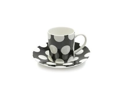 Porcelánový šálek s podšálkem na Espresso 100 ml černý - Polkadot - Maxwell&Williams