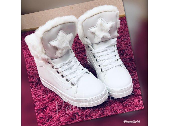 zimní boty hvězdička bílé