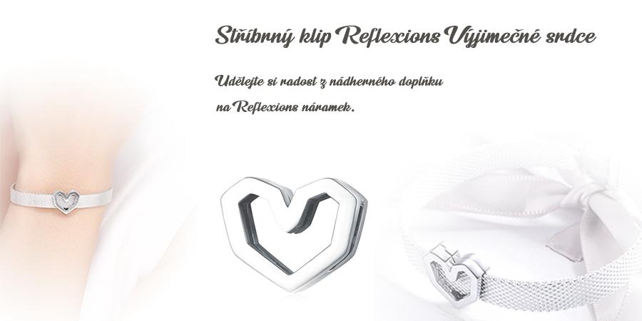 Stříbrný_klip_Reflexions_Vyjímečné_srdce