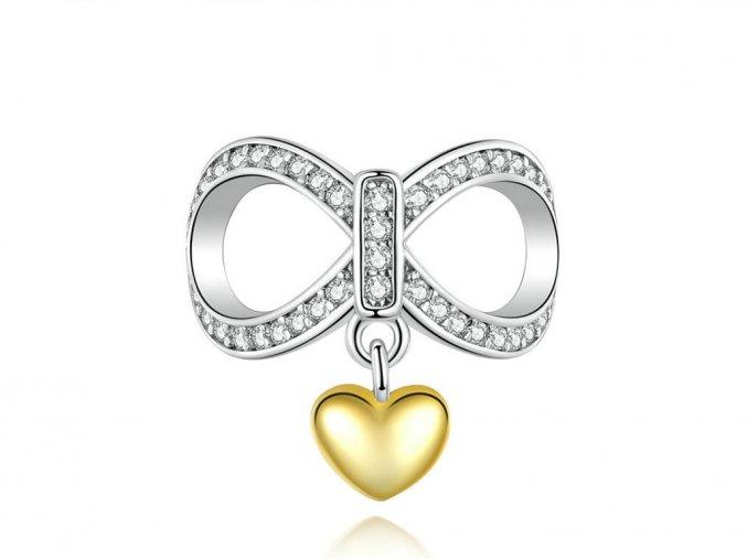 pandjjewellery stribrny visaci privesek zlate srdce(1)