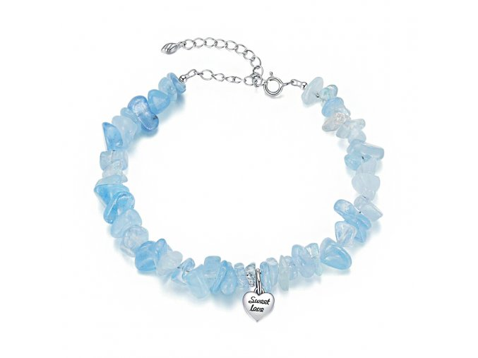 stribrny naramek modry kristal unisbr16