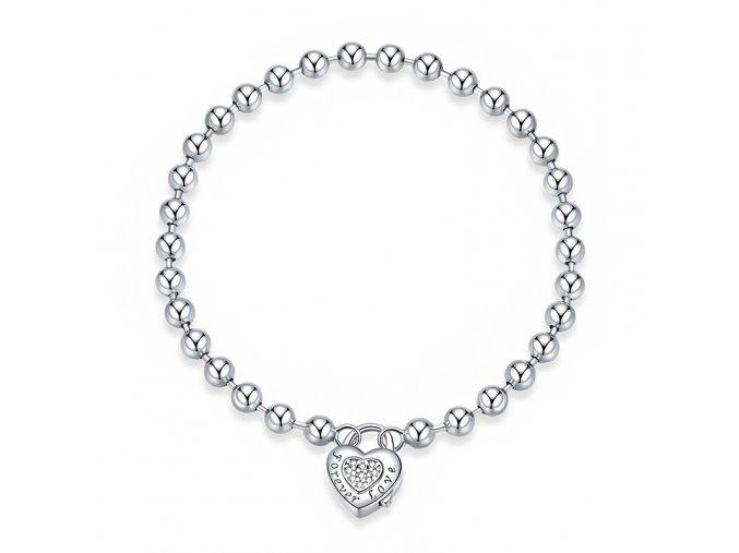 Stříbrný náramek Srdce s kuličkama HSBR17