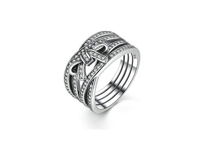 Stříbrný prsten Propletená mašlička SRP11