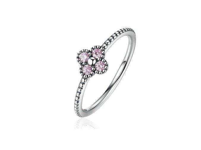 Stříbrný prsten Růžové korálky SRP6